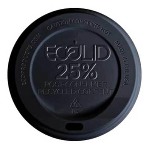 Black 25% Recycled Hot Cup Lids 1000/case