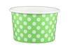 4oz Yogurt Paper Cup Lime Green Polka Dots 1,000/case