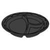 10.25'' 3 Compartment Black Laminated Foam Plate 500/case