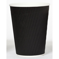 Black Ripple Hot Paper Cups (No Sleeve Needed!)