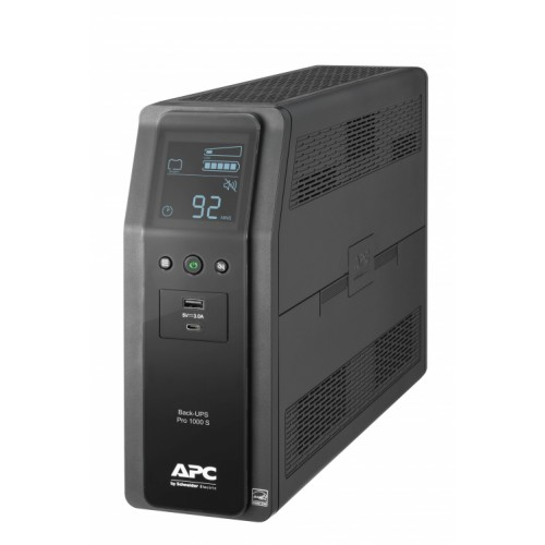 Back UPS PRO BR 1000VA, SineWave, 10 Outlets, 2 USB Charging Ports, AVR, LCD interface