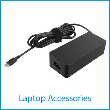 Accessories for laptops, such as power adapters and power cords.