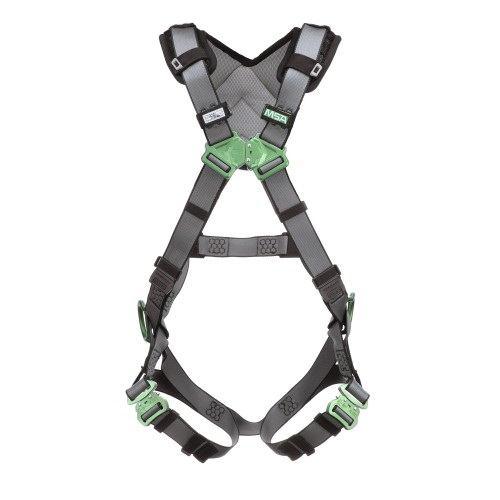 MSA V-FIT full body harness, back and hip D rings, standard size, tongue and buckle legs, shoulder padding