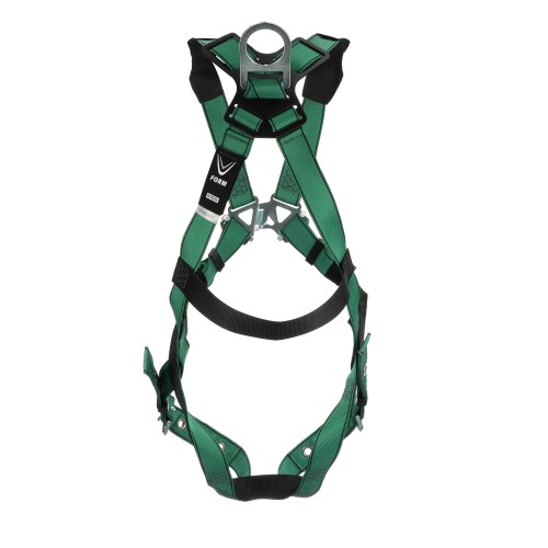 MSA V-FORM Harness, Extra Large, Back D-Ring, Tongue Buckle Leg Straps