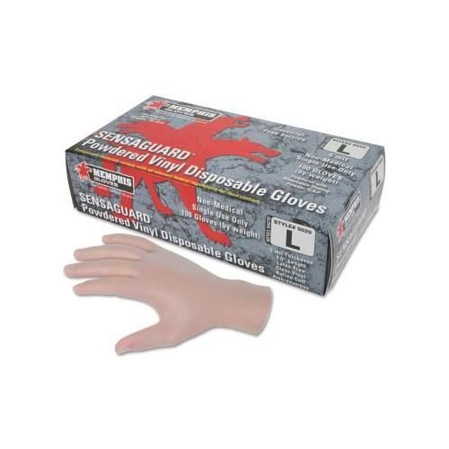 MEMPHIS GLOVE Disposable Vinyl Gloves, Gauntlet, Powdered, 5 mil, Large