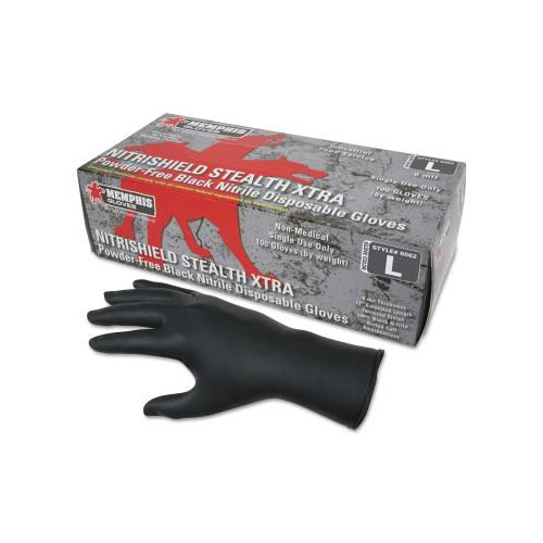 MEMPHIS GLOVE Nitrile Disposable Gloves, Powder Free; Textured, 6 mil, Black, Medium