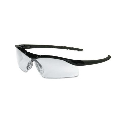 CREWS DALLAS Protective Eyewear, Clear Lens, Duramass Scratch-Resistant, Black Frame
