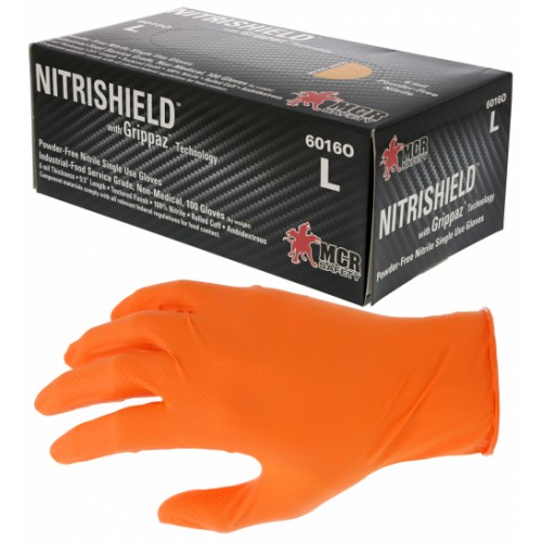 NitriShield® with Grippaz™ Technology 6 mil Orange Nitrile 9.5 Inch Length, Large