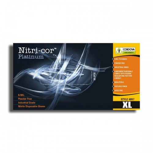 Disposable, Nitri-Cor Platinum™, Industrial, Nitrile, Powder Free, 8 mil, Medium