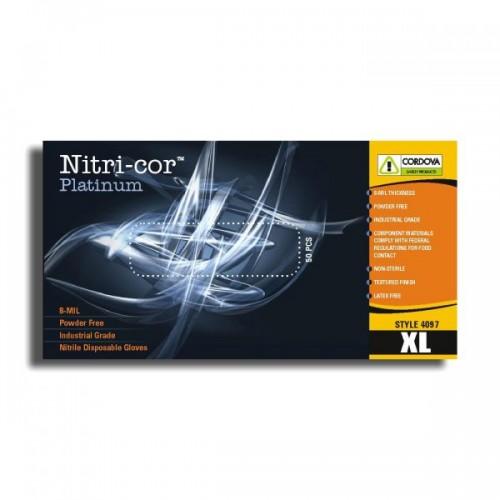 Disposable, Nitri-Cor Platinum™, Industrial, Nitrile, Powder Free, 8 mil, XL