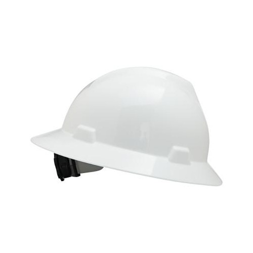 MSA V-Gard Protective Hats, Fas-Trac Ratchet, Slotted Hat, White