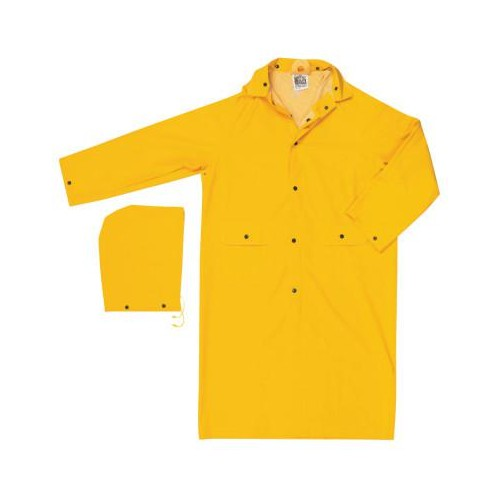 RIVER CITY Classic Rain Coat, Detachable Hood, 0.35 mm PVC/Polyester, Yellow, 49 in Small