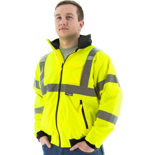HIGH VISIBILITY WATERPROOF JACKET WITH FLEECE LINER, LARGE