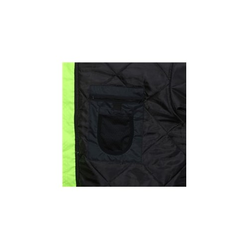 Two Tone Value Bomber Jacket ANSI 107 Class 3 Fluorescent Lime / Black Quilted Rain Jacket with Silver Reflective Stripes