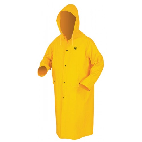 YELLOW 49'' RAINCOAT WITH DETACHABLE HOOD,.35MM PVC ON POLYESTER, LIMITED FLAMMABILITY - LARGE