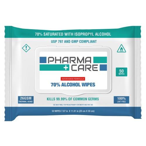 PharmaCare 70% IPA Wipes