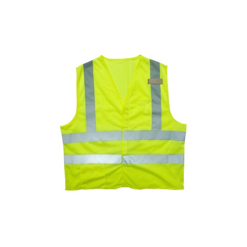 SELF-EXTINGUISHING LIME CLASS 2 MESH SAFETY VEST LARGE