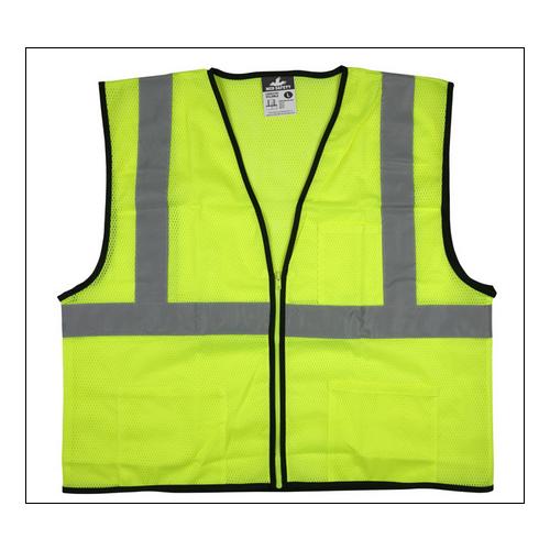 """VCL2MLZ - Safety Vest, Economy Class 2 Mesh, 2"""" Silver Reflective, Zipper Front, 3 Pockets, Lime"""