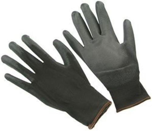 BLACK NYLON POLYURETHANE COATED GLOVES, SIZE LARGE