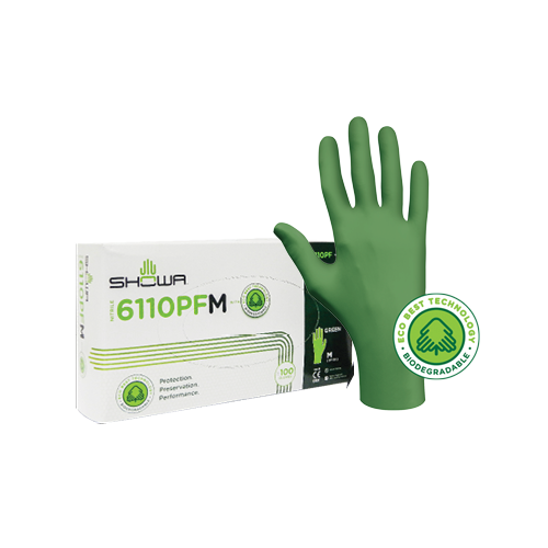 SHOWA Bidegradeable Green Nitrile Glove -LARGE