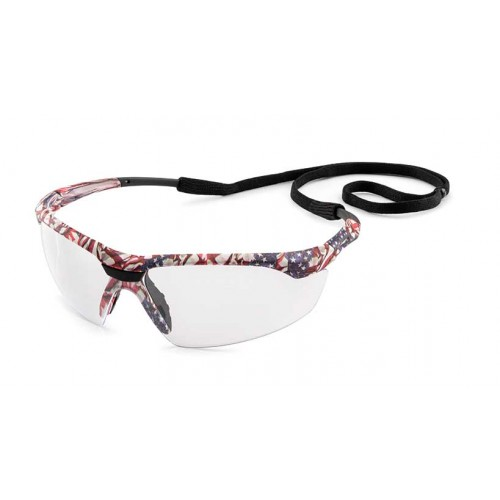 Conqueror Safety Glasses with fX3 Premium Anti-Fog Coating, Old Glory frame, Clear lens