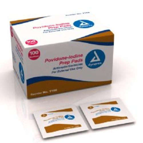 Povidone-Iodine Prep Pads Medium 100/BX