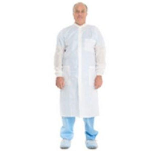 BASIC Plus Lab Coat with Knit Collar and Cuffs - White, Large