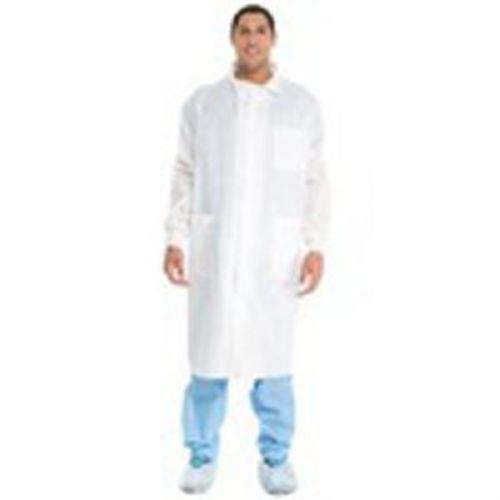 Universal Precautions Lab Coat, White, Traditional Collar, Knit Cuff, 6 Snaps, 3 pockets, Small