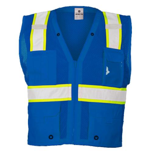 *Enhanced Visibility Multi-pocket Mesh Vest Blue (4X-5X)