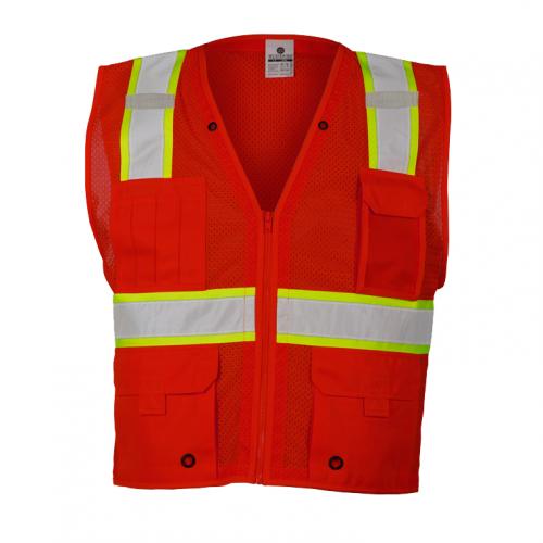 *Enhanced Visibility Multi-Pocket Mesh Vest Red Medium