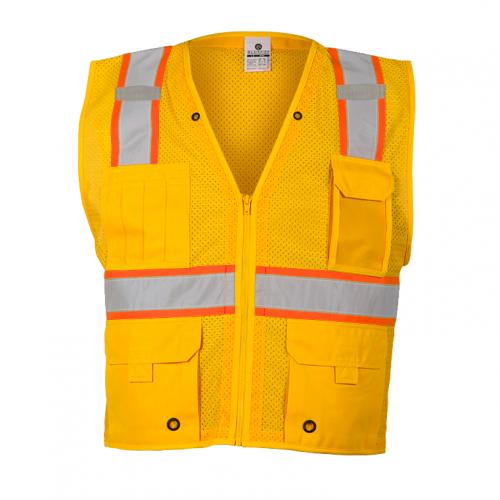*Enhanced Visibility Multi-Pocket Mesh Vest Yellow 4X-5X