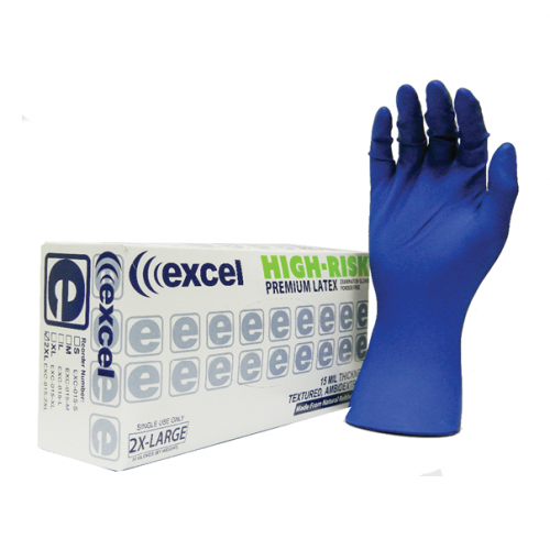 Excel HIGH RISK 15 MIL Powder Free Exam Gloves 50 Per Box XX-LARGE