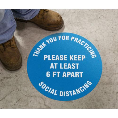 Slip-Gard Floor Sign: Social Distancing 6FT Apart