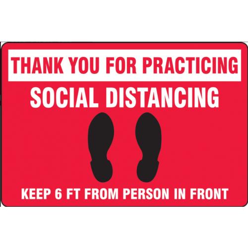 Slip-Gard Floor Sign: Social Distancing Red