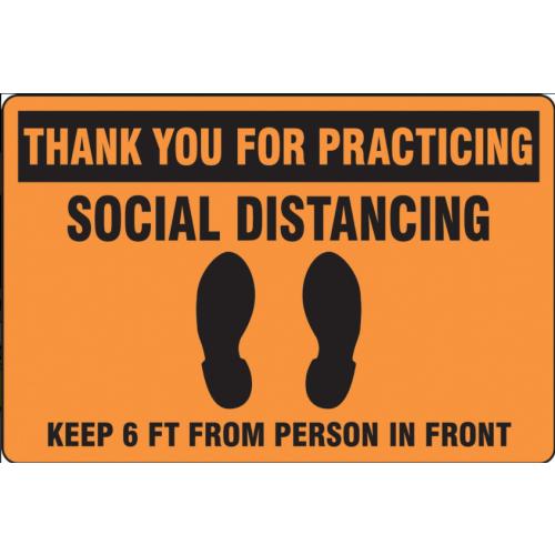 Slip-Gard Floor Sign: Social Distancing Orange