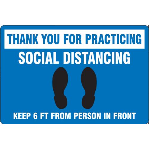 Slip-Gard Floor Sign: Social Distancing Blue