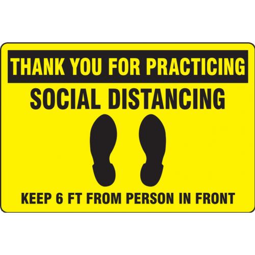 Slip-Gard Floor Sign: Social Distancing Yellow