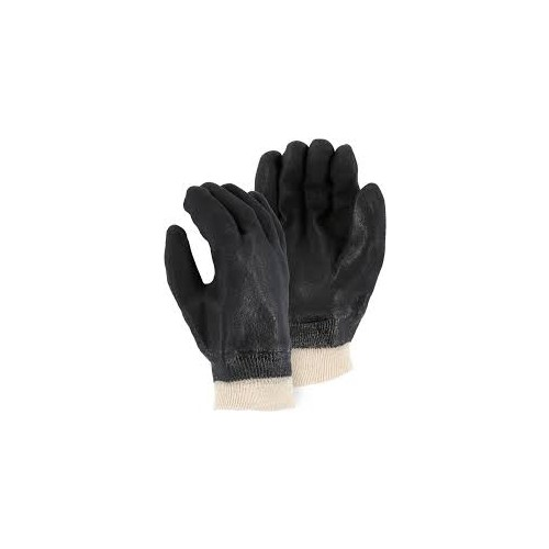 Majestic Glove - PVC Double Dipped Glove with Sand Finish, Knit Wrist & Jersey Liner
