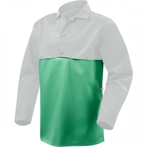 "19"" Green 9oz FR WELDLITE Cotton Bib for Cape Sleeve, Welding Bib"