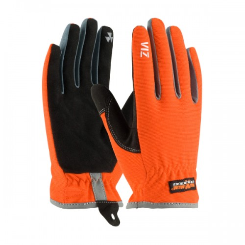 Viz, Hi-Vis Workman's Glove with Synthetic Leather Palm and Fabric Back - PVC Grip on Index Finger/Thumb
