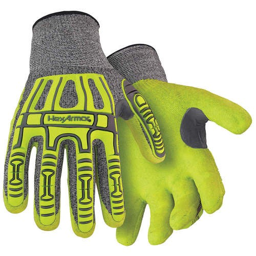 Gray/Hi-Vis Yellow/Black Sandy Nitrile Coated Knit wrist Palm Coated Cut Resistant Glove/Large