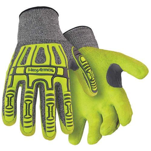 Gray/Hi-Vis Yellow/Black Sandy Nitrile Coated Knit wrist Palm Coated Cut Resistant Glove/XLarge