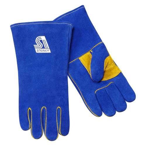 Medium Blue Cotton Lined Side Split Cowhide Welding Glove