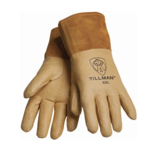 "14"" Brown Unlined 4"" Cuff 32 Tillman Top Grain Pigskin Straight Thumb MIG Welding Gloves Pair Large"