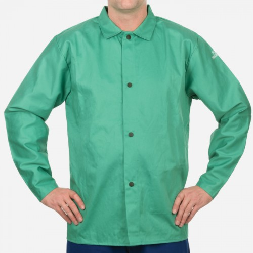 "30"" Green Welding Jacket, 9oz. Cotton Flame Resistant, Large"