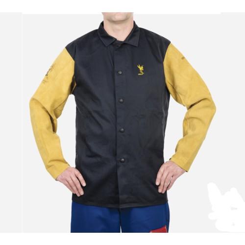 "Navy Blue w/Tan COOL FR 30"" Flame Retardant Cotton Jacket w/ Leather Sleeves Large"