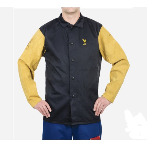 "Navy Blue w/Tan COOL FR 30"" Flame Retardant Cotton Jacket w/ Leather Sleeves Medium"