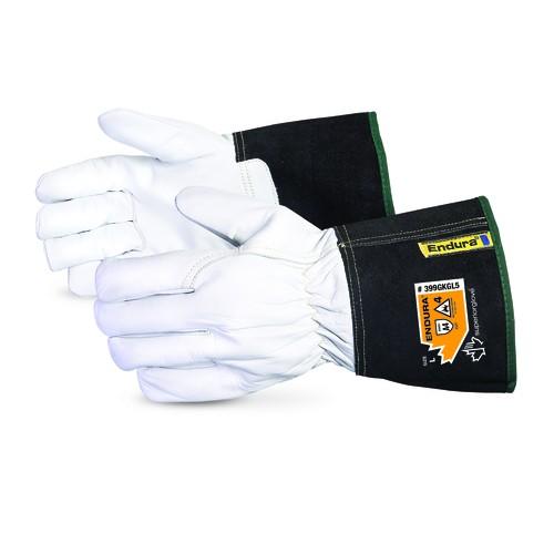 White/Black Cuff Grain Goatskin Endura Cut Resistant Driver's Glove Large