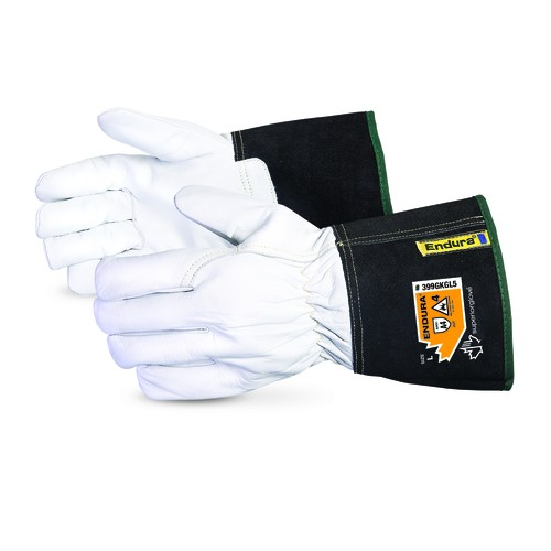 White/Black Cuff Grain Goatskin Endura Cut Resistant Driver's Glove XLarge