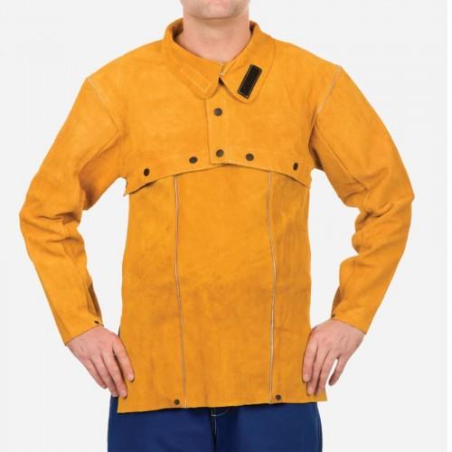 Golden Brown Leather Cape Sleeve, Split Cowhide Clothing, Medium